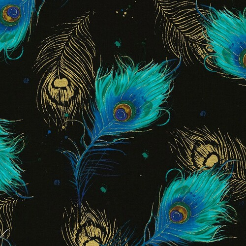 Timeless Treasures Peacock Plumes Falling Feathers Metallic Black 100% Cotton (TT Peacock Plumes Black)