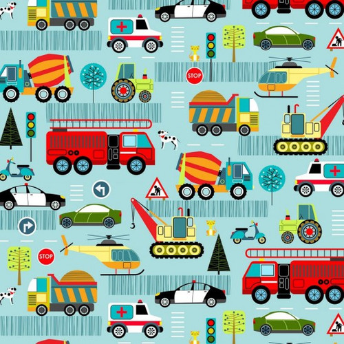 Multicoloured Vehicles On Blue 100% Cotton (Around Town 1)