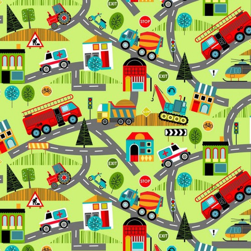Multicoloured Vehicles On A Road Map 100% Cotton (Around Town 2)