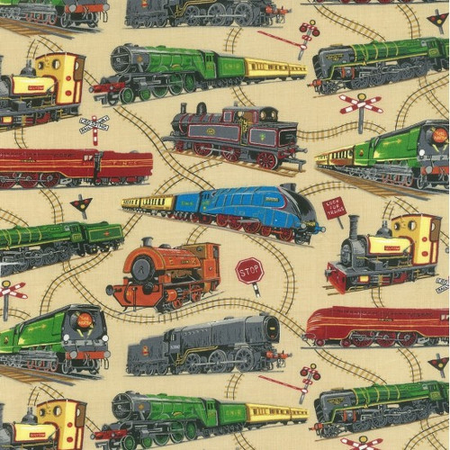 Multicoloured Trains Beige 100% Cotton (Loco Motion)