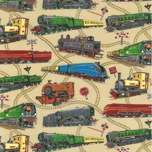 Multicoloured Trains Beige 100% Cotton (Loco Motion)