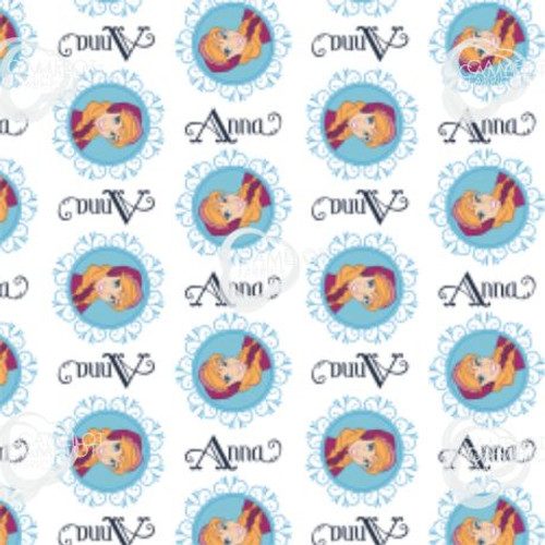 Frozen Anna Picture Badges White 100% Cotton (Frozen 16)