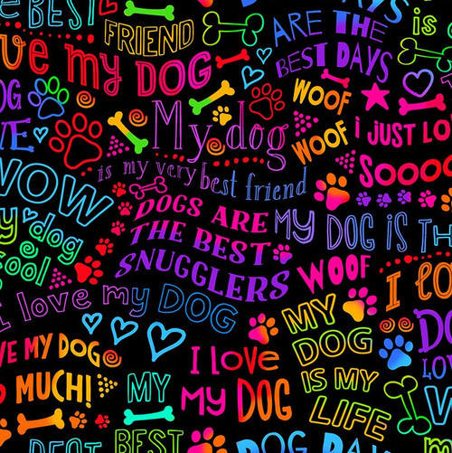 Timeless Treasures Multicoloured Words - I Love My Dog 100% Cotton (TT I Love My Dog Words Black)