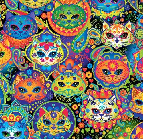 Timeless Treasures Bright Sugar Skull Cats 100% Cotton (TT Sugar Skull Cats)