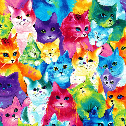 Timeless Treasures Bright Multicoloured Packed Cats 100% Cotton (TT Packed Cats)