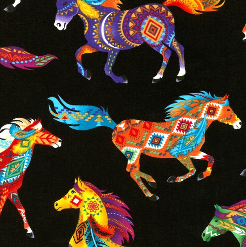 Timeless Treasures Out West Bright Multicoloured Horses On Black 100% Cotton (TT Out West Horses)
