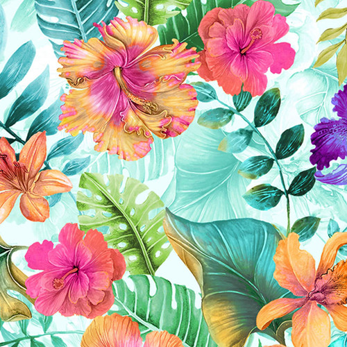 Timeless Treasures Tropical Hibiscus & Banana Leaf Floral White 100% Cotton (TT Hibiscus)