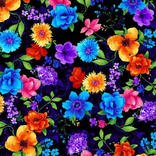Timeless Treasures  Multicoloured Flowers Black 100% Cotton (TT Night Bloom Small Floral Black)