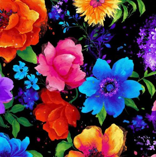 Timeless Treasures  Multicoloured Large Flowers Black 100% Cotton (TT Night Bloom Large Floral)