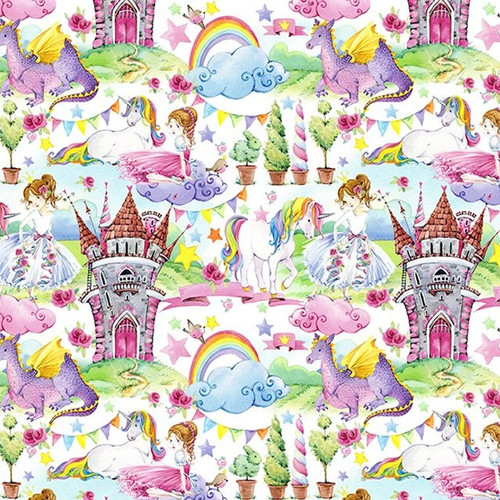 Digital Princesses & Unicorns In A Fairytale Kingdom 100% Cotton (Digital Fairytale Kingdom)