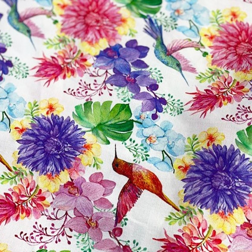 Digital Flying Hummingbirds & Flowers 100% Cotton (Digital Tropical Paradise)