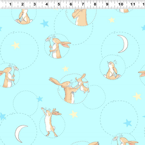 Guess How Much I Love You Nutbrown Hare Bunny Love Blue 100% Cotton Remnant (46 x 110cm GHMILU5)