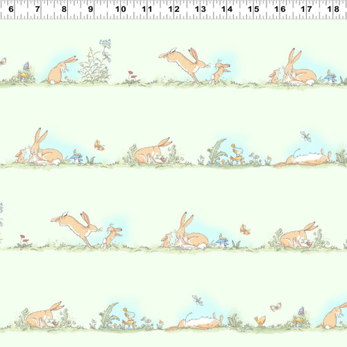 Guess How Much I Love You Nutbrown Hare Spring Meadow Green 100% Cotton Remnant (60 x 110cm GHMILU2)