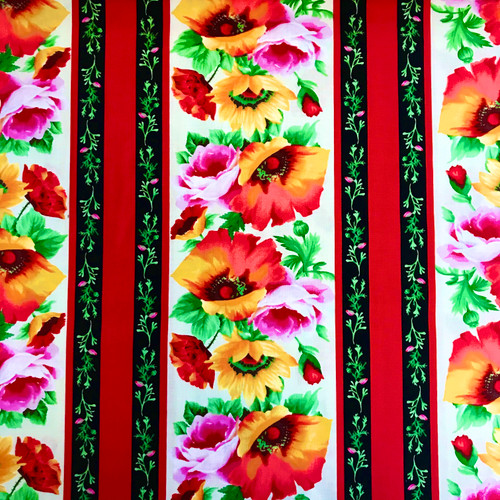 Michael Miller's Floral Poppy Border 100% Cotton (MM Blooms Of Beauty 6)