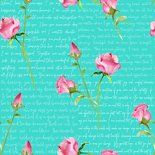 Henry Glass & Co. Love Letter Words & Pink Roses On Aqua 100% Cotton Remnant (69 x 112cm HG Love Letters 4)