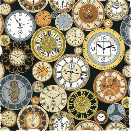 Victorian Vintage Clocks Steampunk Black 100% Cotton (Victorian Vintage Clocks)