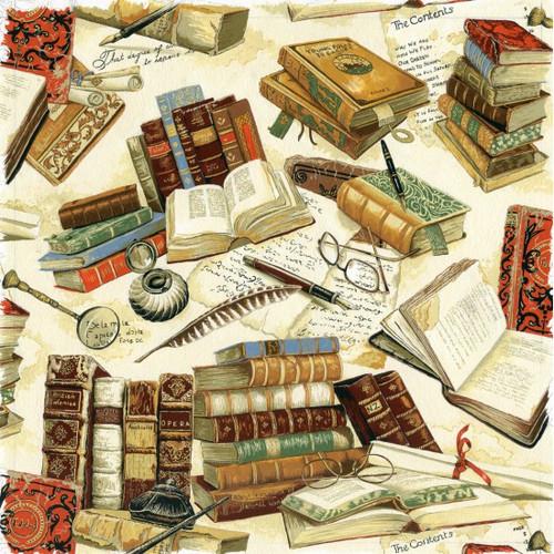 Victorian Vintage Books & Quills Cream Beige 100% Cotton (Victorian Vintage Books)