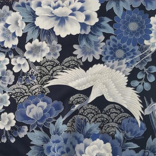 Metallic Accent Crane Birds Blue Japanese 100% Cotton Remnant (46 x 112cm Japanese Crane - Blue)