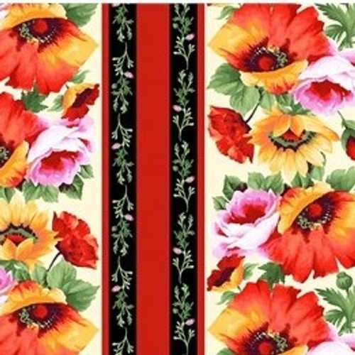 Michael Miller's Floral Poppy Border 100% Cotton Remnant (64 x 112cm MM Blooms Of Beauty 6)