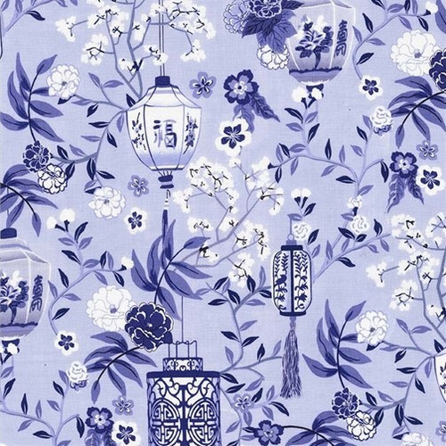 Michael Miller's Pagoda Dreams Oriental Blue Lanterns 100% Cotton (MM Pagoda Dreams 4)