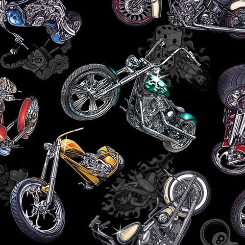 Quilting Treasures Easy Rider Tossed Motorcycles Black 100% Cotton (QT Easy Rider Black)