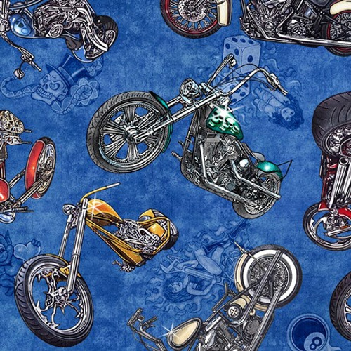 Quilting Treasures Easy Rider Tossed Motorcycles Blue 100% Cotton (QT Easy Rider Blue)
