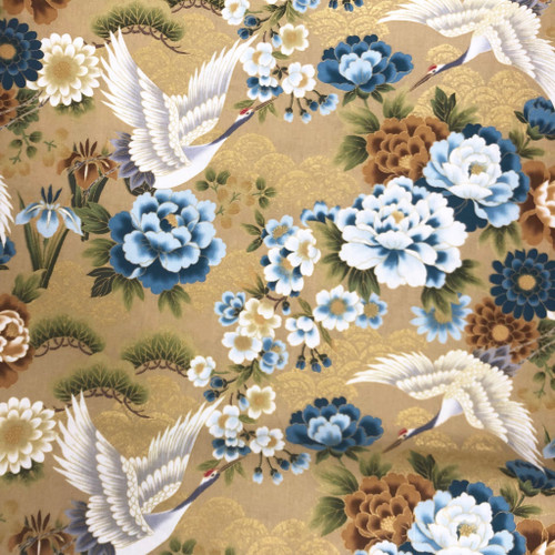 Japanese Crane Golden 100% Metallic Cotton Remnant (51 x 112cm Japanese Crane Golden)