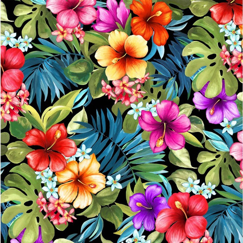 Michael Miller's Lost In Paradise Bright Tropical Floral Black 100% Cotton (MM Lost In Paradise 2)