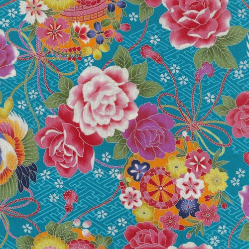 Japanese Bright Floral with Oriental Pots Blue 100% Metallic Cotton (Japanese Toto 3)