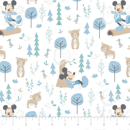 Disney Mickey Mouse & Bear Little Meadow Ivory 100% Cotton Remnant (49 x 110cm Mickey 15)