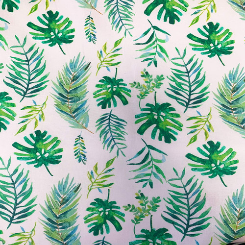 Tropicale - Palm Leaves White 100% Cotton (Tropicale Palm Leaves)