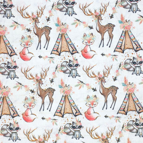 Chatham Glyn Chic Camping With Deer White 100% Cotton (CG Chic 3)