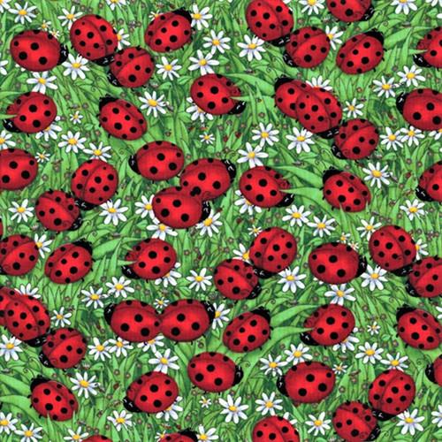 Timeless Treasures Ladybugs Green 100% Cotton Remnant (31 x 112cm TT Ladybugs Green)