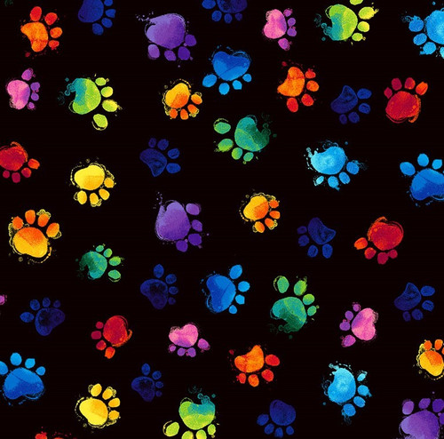 Timeless Treasures Multicoloured Paw Prints on Black 100% Cotton (TT Multicoloured Paw Prints)