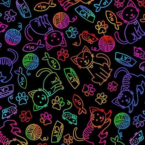 Timeless Treasures Rainbow Sketch Cats Black 100% Cotton (TT Rainbow Sketch Cats)