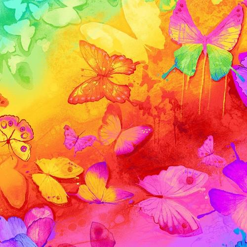 Timeless Treasures Spirit Bright Butterflies on Rainbow 100% Cotton (TT Spirit Bright Butterflies)
