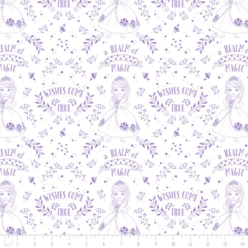 Disney Sofia The First Outline Toile In Lavender 100% Cotton Remnant (55 x 110cm Sofia 3)