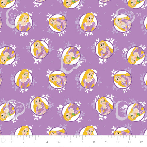Disney Tangled Rapunzel Purple 100% Cotton Remnant (81 x 110cm Tangled 1)