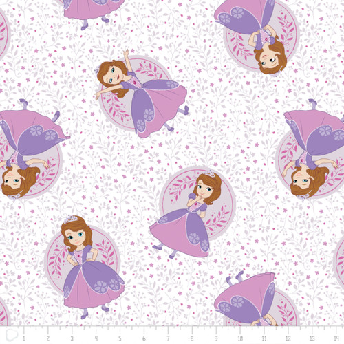 Disney Sofia The First Poses In White 100% Cotton Remnant (64 x 110cm Sofia 4)