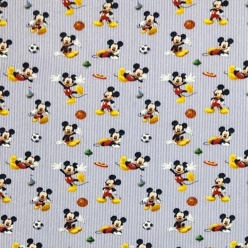Chatham Glyn Disney Mickey Mouse Playing Sport Football, Frisbee, Basketball Blue Stripe  100% Cotton (CG Mickey 22)