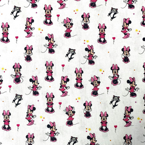 Chatham Glyn Disney Minnie Mouse & Kitten on White 100% Cotton (Minnie 14)