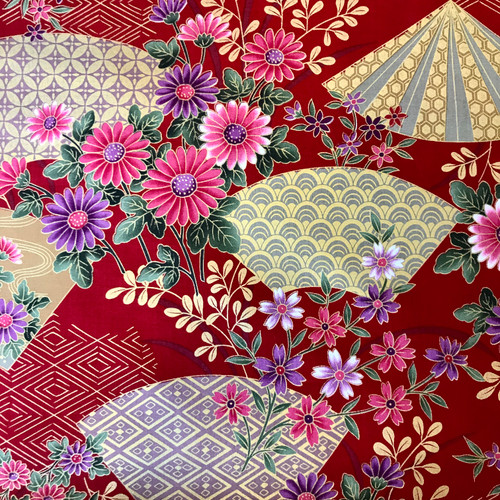 Japanese Floral Geometry Red 100% Metallic Cotton (Japanese Geometry Red)