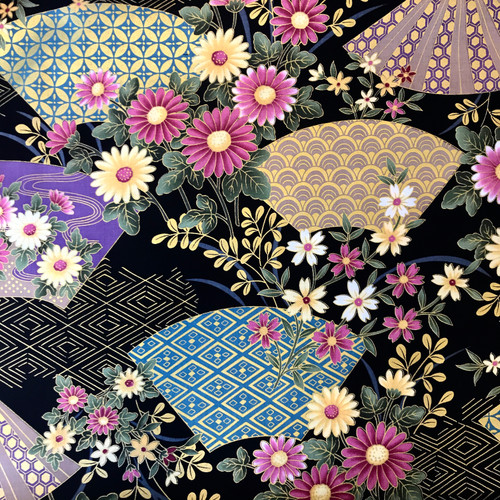 Japanese Floral Geometry Black 100% Metallic Cotton (Japanese Geometry Black)
