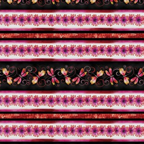 Kanvas Studio Flowers & Butterflies Striped 100% Cotton Remnant (60 x 112cm KS Blooming Beauty 2)