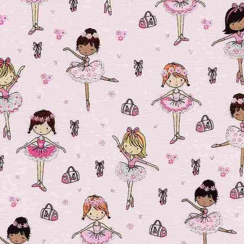 Timeless Treasures Glitter Ballerinas Pink 100% Cotton (TT Glitter Ballet Lesson)