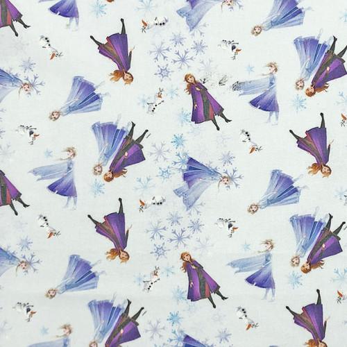 Chatham Glyn Frozen Anna Elsa Olaf Snowflakes Blue 100% Cotton (Frozen 21)