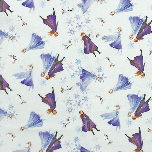 Chatham Glyn Frozen Anna Elsa Olaf Snowflakes Blue 100% Cotton (CG Frozen 21)