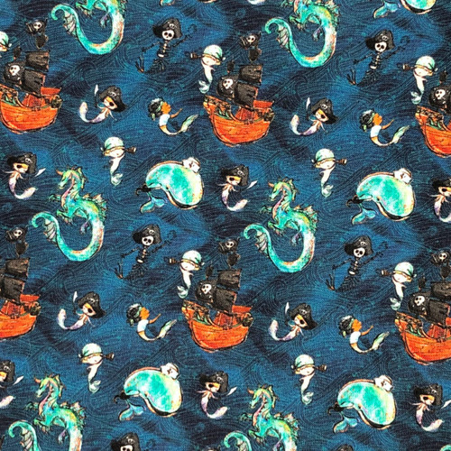 Chatham Glyn Merboys Pirates, Mermaids and Whales Blue 100% Cotton (CG Merboys 4)