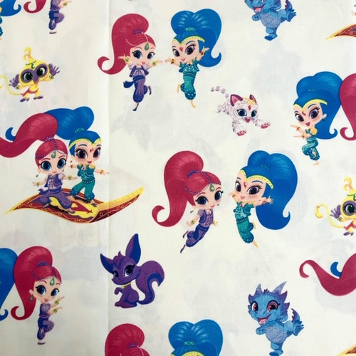 Chatham Glyn Shimmer and Shine Genie Friends on White 100% Cotton Remnant (2m x 140cm CG Shimmer and Shine Large Print)