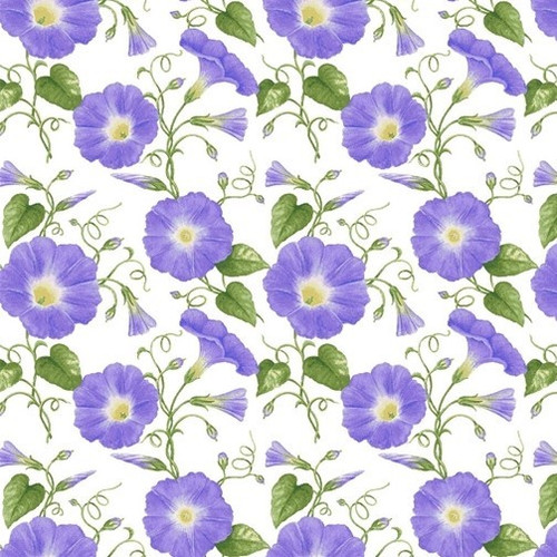 Henry Glass & Co. Purple Petunias 100% Cotton Remnant (50 x 112cm HG Hydrangea Birdsong 9)